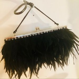 Handbags - Black feathered clutch